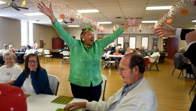 Edith Hall wins gold in the Bingo competition during the final day of the Senior Games sponsored by the Henderson Senior Center at Atkinson Park in Henderson, Ky., on Thursday, Sept. 14, 2017.