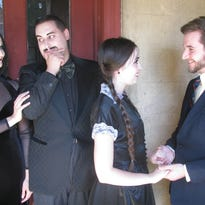 """Meeting the parents may not go as planned if your girlfriend's parents are Morticia and Gomez Addams. """"The Addams Family"""" runs until Aug. 6 at Tibbits Opera House. From left: Ben Shimkus as Lucas, Maureen Duke as Morticia, Joey Gugliemelli as Gomez and Jennifer Barnaba as Wednesday."""