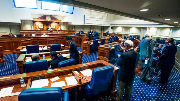 The senate chamber at the Alabama Statehouse in Montgomery,