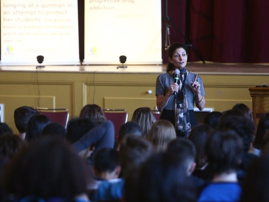 Ann Marie D'Aliso speaks at Wappingers Falls Junior