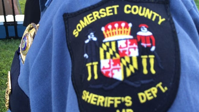 This Aug. 2, 2016 photo shows the emblem of Somerset County, Md., on the uniform of Somerset County Sheriff Ronald Howard.