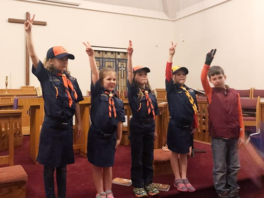 From left, Asa Smith, Sophie Rarick, Everleigh Gittings and Katherine Garrett are some of the first girl Cub Scouts in WNC.