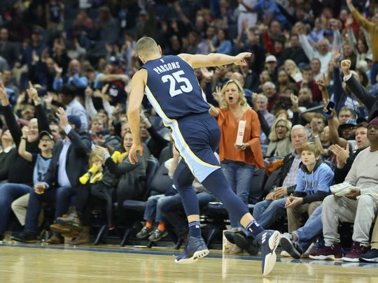 Oct 28, 2017; Memphis Grizzlies forward Chandler Parsons (25) celebrates after making a three point shot against the Houston Rockets at FedExForum.