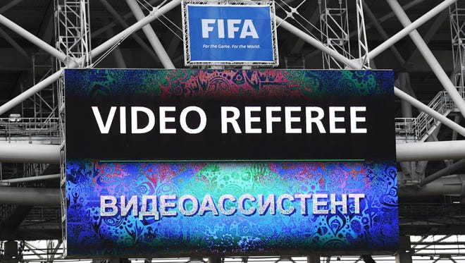 View of the screen as video referee assitance is used during the Confederations Cup match between Chile and Australia.