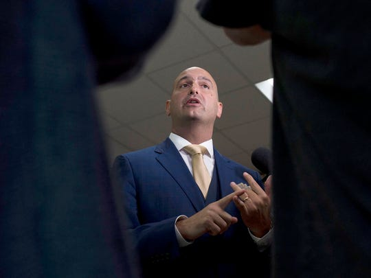 New Detroit Superintendent Nikolai Vitti speaks to the media during the DPSCD Teacher Recruitment Fair in May 2017 at Martin Luther King High School in Detroit. Vitti attended the Fair as part of his first day as Superintendent.