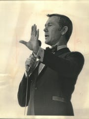 "Johnny Carson, star of ""The Tonight Show,"" wows the audience at the Wisconsin State Fair on Aug. 18, 1968. Carson pulled in more than 82,000 people in his four shows at the fair's grandstand that year - the first year admission to grandstand shows was free. This photo was published in the Aug. 19, 1968, Milwaukee Sentinel."