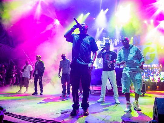 Closing act Wu-Tang Clan performs on the main stage during the Movement festival at Hart Plaza in Detroit on May 28, 2018.