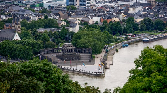 The Deutsches Eck (German Corner) where the Rhine and Moselle rivers meet in Koblenz.