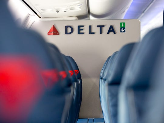 First class seats are seen here on a Delta Boeing 737-900 during the company's media day at its Atlanta hub on April 29, 2016.