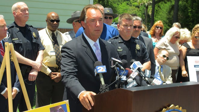 FBI Special Agent in Charge David Thomas speaks to reporters during a news conference in McClellanville, South Carolina, on June 8, 2016. He said that the case of Brittanee Drexel of Chili is now being investigated as a homicide and the agency is offering a reward of $25,000 for information leading to the arrest and conviction of those responsible. Drexel was 17 when she was last seen at a hotel in nearby Myrtle Beach, S.C., in April 2009.