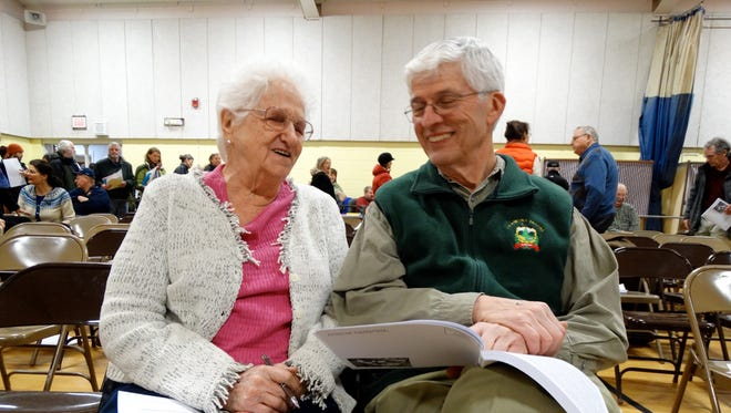 Shirley Bean and state Rep. Mike Yantachka, D-Charlotte/Hinesburg, talked about the town report before Charlotte's 2016 town meeting. Bean said she has been attending Charlotte town meetings for 60 years, missing only one while she lived in town.