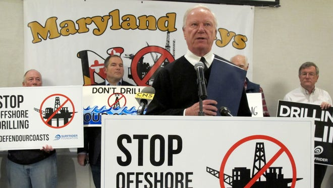 Ocean City Mayor Rick Meehan speaks out against allowing offshore drilling off Maryland's coast before an open house on the proposal that took place Tuesday, Jan. 16, 2018, in Annapolis, Md.