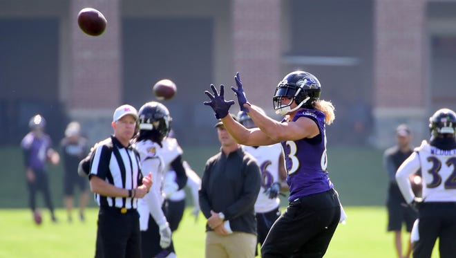 Jun 12, 2018; Owings Mills, MD, USA; Baltimore Ravens wide receiver Willie Snead IV (83) catches a pass during minicamp at the Under Armour Performance Center. Mandatory Credit: Evan Habeeb-USA TODAY Sports