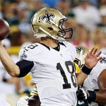 New Orleans Saints quarterback Garrett Grayson drops back during the second half of an NFL preseason football game against the Green Bay Packers Thursday.