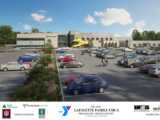 A joint-use facility organized through The Intersection Connection will combine athletic amenities, educational opportunities and medical care under one roof, shown in a preliminary design concept by KJG Architecture of West Lafayette. The building will be located on South Creasy Lane by the campus of Ivy Tech Community College - Lafayette.