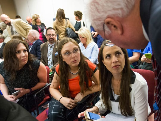 Gilbert mothers Susan Woodruff (left), Angela Teachout (center) and Anika Robinson talk with Sen. John Kavanagh before a hearing for HB2442 at the Capitol March 9, 2016.