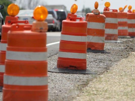 construction barrels road