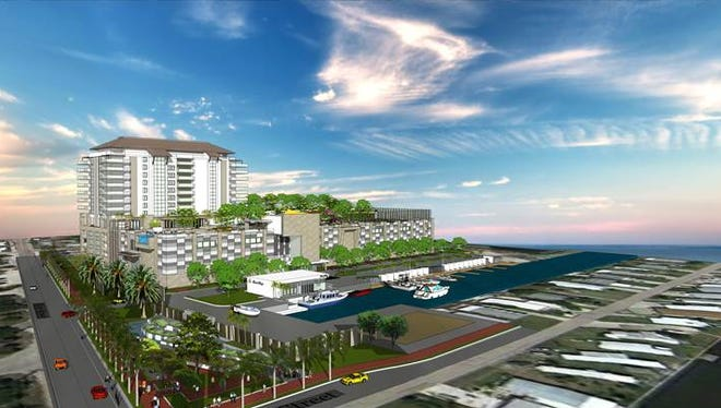 Bay Harbour Marina Village proposes a 14-story tower with 113 apartments, four town homes that will be offered for sale, 29 wet slips and dry storage for 286 boats, plus a parking garage that includes 200 public spaces. Lee County will consider its approval on Feb. 4.
