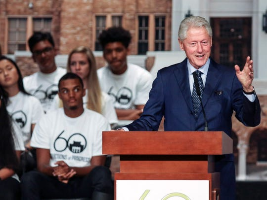 Former President Bill Clinton speaks during the commemoration