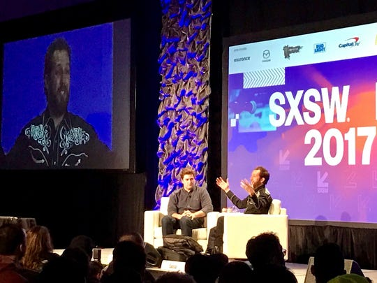 Tech investor Chris Sacca, right, addresses the audience