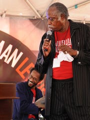 Brady Blade Sr. and his son Brian Blade with The Hallelujah Train.