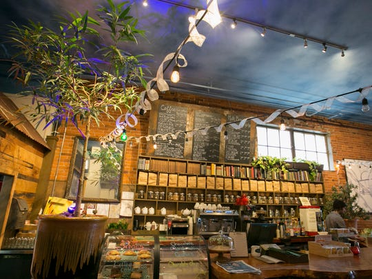 The espresso bar is seen at Taproot Lounge & Cafe in