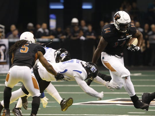 Rattlers running back Darrell Monroe set an IFL record this year with 10 rushing touchdowns in a game.