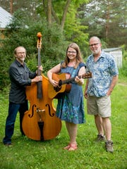 Musicians Rich Hgdon and Katie Dahl with Dave Alley, recording engineer and Fred Alley's brother.