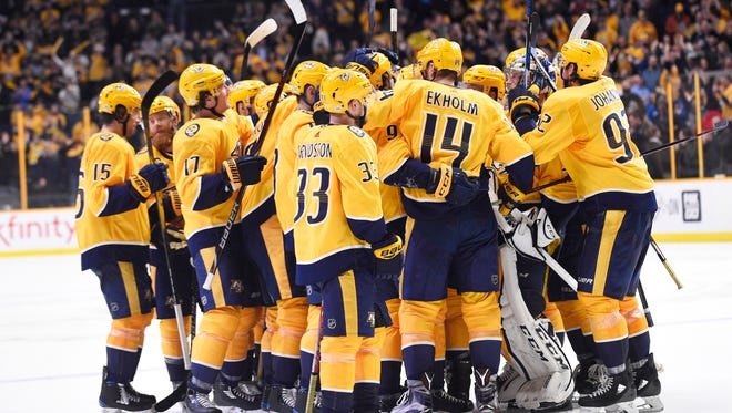 The Predators lead the Central Division with 77 points.
