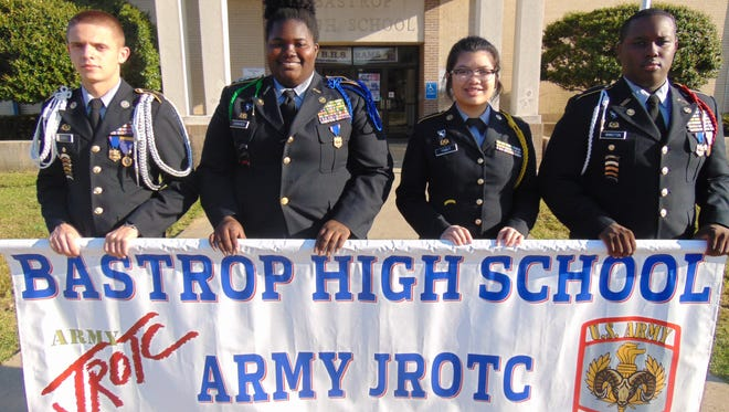 Bastrop High School's JROTC Academic Team composed of (L-R) Sidney Jones, Gwyneth Edwards, Kei Yabut, and Cedric Winston will compete in person at the final Championship event of The 2018 Army JROTC Academic Bowl Championship in Washington D.C.