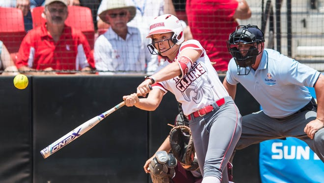 UL's Casidy Chaumont hit a two-run double to provide the Cajuns' only two runs in the 5-2 loss to Texas State in the Sun Belt Conference Tournament finals on Saturday at Lamson Park.