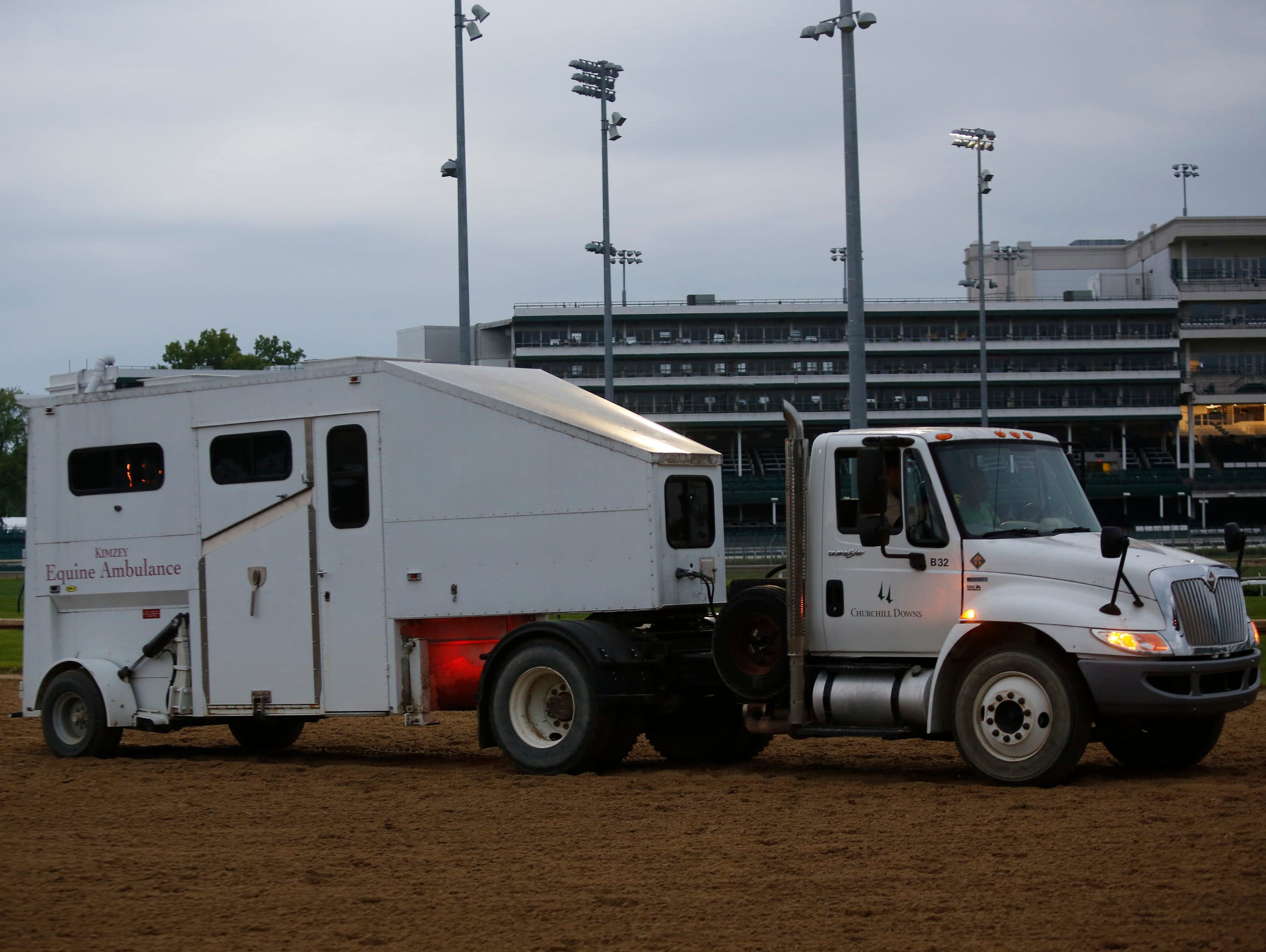 An equine ambulance moves into action.