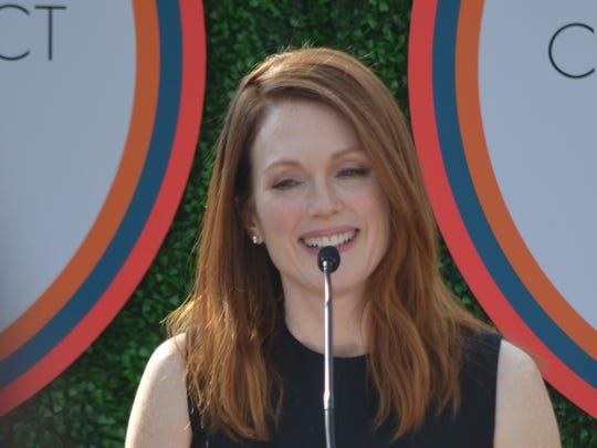Julianne Moore talks about Steve Carell before presenting Carell with the Variety Creative Impact in Acting Award at the Parker Palm Springs on Sunday, Jan. 4, 2015.