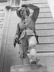 """The infantryman and the other three sculptures at the base of  the Soldiers and Sailors Monument originally sported   beards. They  were removed after the monument regents said, """"They look too German."""" Rudolph Schwarz carefully chiseled off the beards, leaving only a slight visible stubble."""