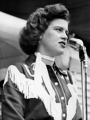 """Patsy Cline performs before a packed crowd during The Nashville Tennessean Centennial Park concert Jun 26, 1955. The documentary """"When Patsy Cline Was ... Crazy"""" will be show at Franklin Theatre at 7 p.m. Friday, Sept. 7, 2018."""