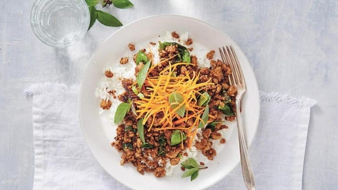This Thai Basil Stir-Fry can be served on rice or in a lettuce wrap.