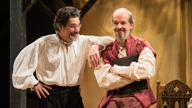 "David Cecsarini (left) and Mark Ulrich find something amusing in ""Equivocation,"" performed by Next Act Theatre."
