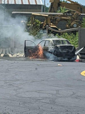 Strasburg Volunteer Firefighters responded to a vehicle fire about 12:35 p.m., Saturday, at McDonald's Restaurant located at 607 South Wooster Avenue. Photo courtesy of Tuscarawas County Scanner