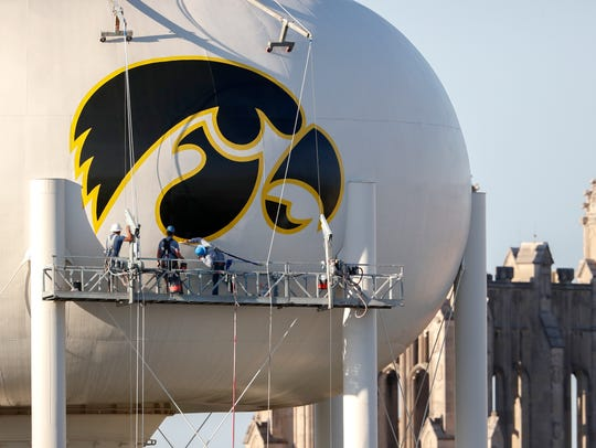 A view of the water tower from inside Kinnick Stadium.