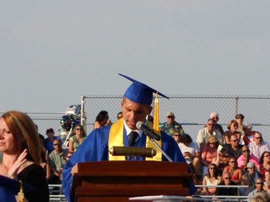 Class President Dante Galletta gives his speech during the commencement ceremony.