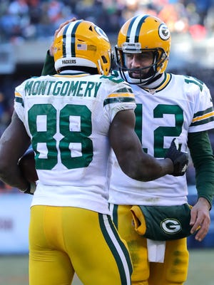 Aaron Rodgers congratulates Ty Montgomery on his third quarter touchdown.