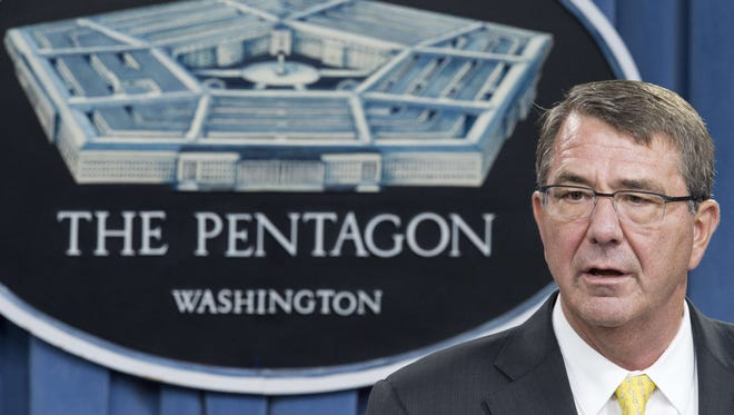 Defense Secretary Ashton Carter conducts a press conference on Aug. 20, 2015, from the media briefing room of the Pentagon.