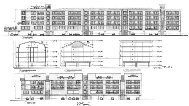 An engineering sketch of the hotel proposed for Waites Wharf in Newport.