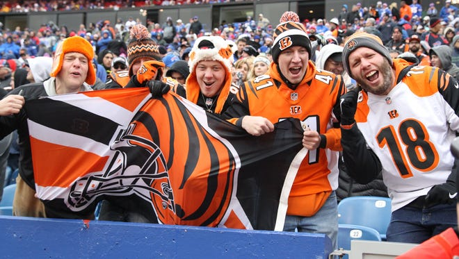 Cincinnati Bengals fans cheer after a game Sunday, Oct. 18, 2015, in Orchard Park, N.Y.