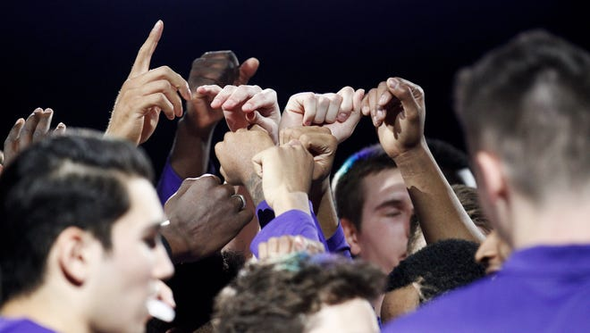 Grand Canyon University's team huddles before a game against Seattle University at GCU Arena in Phoenix on Saturday, Jan. 21, 2017.