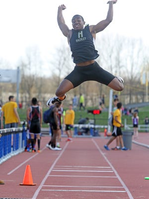 Anthony Roderick of Hackley competes in the long jump during The Mountie Madness track meet Thursday at McConnell Stadium in Suffern.