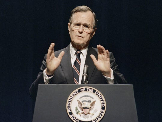 "President George H.W. Bush's ""No new taxes"" pledge, issued in 1988, came back to bite him when he raised taxes a couple of years after making the pledge."