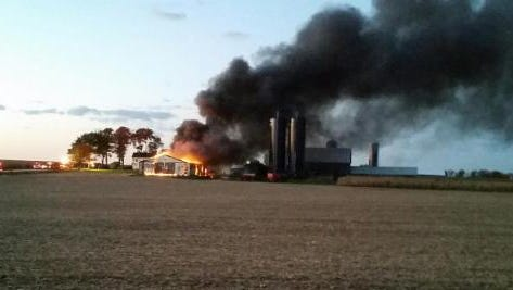 A barn on Greenwood Road north of Greenville is engulfed in flames Wednesday evening. About eight departments were called on to fight the blaze, according to Outagamie County Sheriff's Sgt. Erik Nielson.