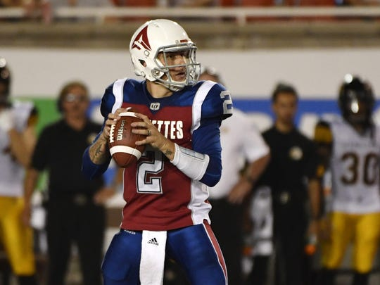 Montreal Alouettes quarterback Johnny Manziel throws a pass against the Hamilton Tiger-Cats on Aug. 3, 2018. Booted from the CFL, Manziel has now landed in Memphis with the Express of the AAF.