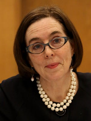 Gov. Kate Brown talks with the Statesman Journal editorial board earlier this month.